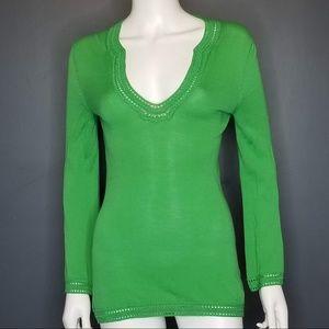 TRINA TURK Green Lightweight Boho Sweater XS (P)